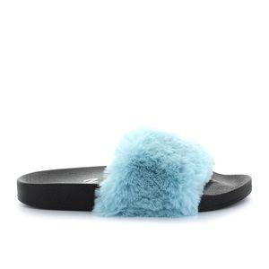 Seven7 Women's Blue Faux Fur Slide Sandal